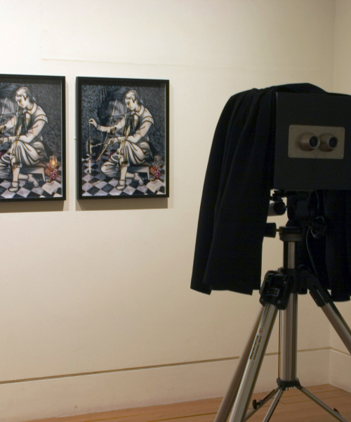 Exhibition View, Natural Magic, Royal Scottish Academy, Edinburgh 2009. 'Chimenti' 2009, lenticular stereoscope (in camera) and stereo pair.