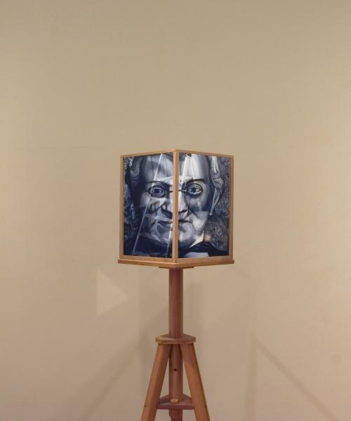 Exhibition View, Natural Magic, Royal Scottish Academy, Edinburgh 2009. Portrait of Charles Wheatstone Mirror Stereoscope.