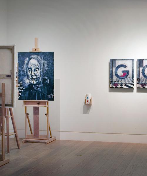 Exhibition View, Natural Magic, Royal Scottish Academy, Edinburgh 2009. Portrait of David Brewster Mirror Stereoscope and 'G-O-D'.
